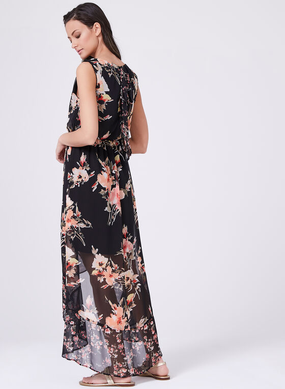 High-Low Floral Chiffon Dress, Black, hi-res