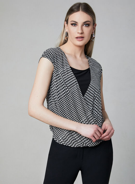 Houndstooth Print Top, White, hi-res