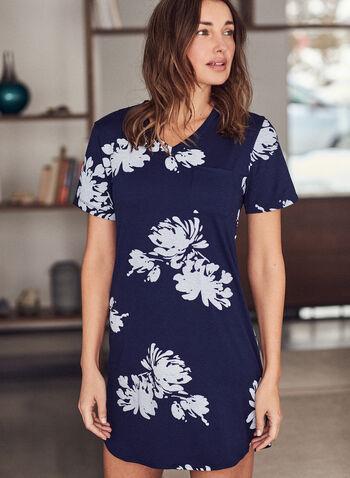 Robe de nuit à motif floral, Bleu,  automne hiver 2020, pyjama, robe de nuit, chemise de nuit