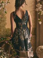 Adrianna Papell - Robe à fleurs métallisées, Noir
