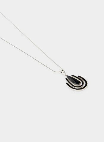 Geometric Pendant Necklace, Black, hi-res,  enamel, long necklace, snake chain, fall 2019, winter 2019