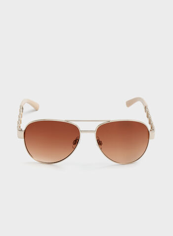 Chainlink Arm Aviator Sunglasses , Gold, hi-res