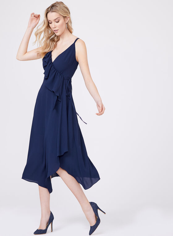 Clover and Sloane - Faux Wrap Crepe Dress , Blue, hi-res