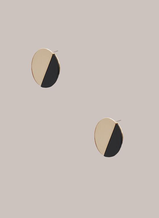 Boucles d'oreilles rondes à deux tons, Noir