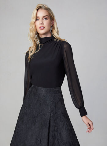 Chiffon Balloon Sleeve Top, Black,  Canada, top, long sleeves, chiffon, balloon sleeves, fall 2019, winter 2019