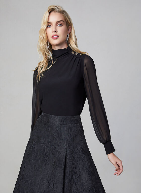 Chiffon Balloon Sleeve Top, Black, hi-res