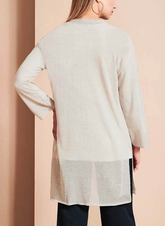3/4 Sleeve Sheer Duster Cardigan, Grey, hi-res