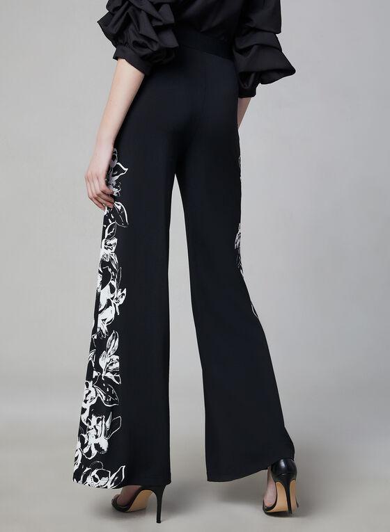Pantalon pull-on fleuri à jambe large, Noir