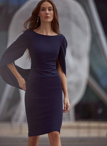 Draped Sleeve Boat Neck Dress, Blue,  fall 2021, made in canada, dress, day dress, cocktail dress, occasion dress, short, sheath, boat neckline, back v, zipper closure, draped, drape detail, effect, drape sleeves, elbow sleeves, pleated, waist