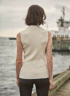 Sleeveless Mock Neck Sweater, Off White
