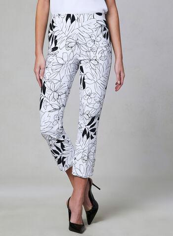 Floral Print Capri Pants, Black, hi-res