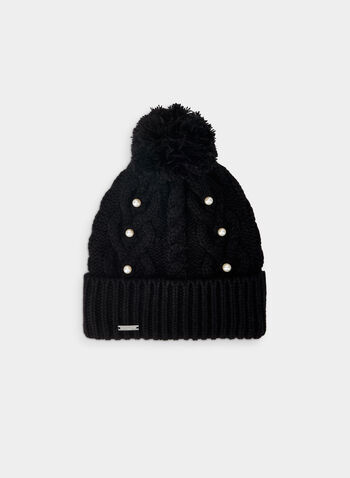Karl Lagerfeld Paris - Cable Knit Tuque, Black,  tuque, pompom, pearl, cable knit, karl lagerfeld paris, fall winter 2019