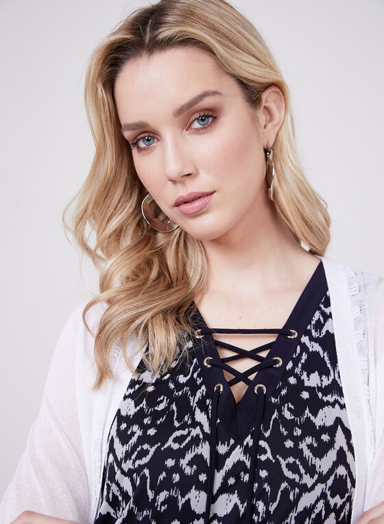 Lace Up Sleeveless Top, Blue, hi-res
