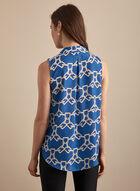 Blouse à col cranté et motif chaînes, Bleu