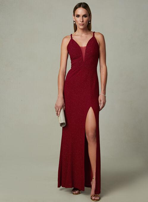 Cachet - Deep V Sparkle Dress, Red, hi-res