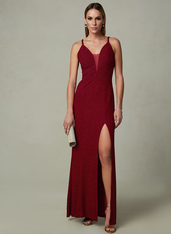Cachet - Deep V Sparkle Dress, Red, hi-res