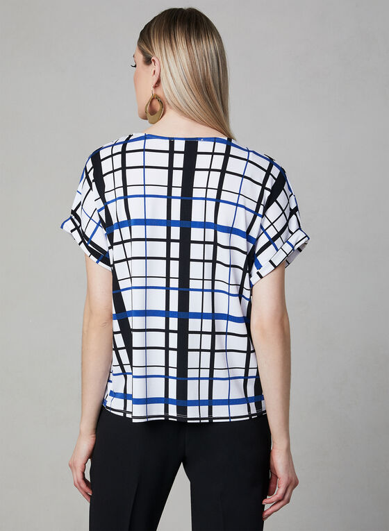 Plaid Print Top, White, hi-res