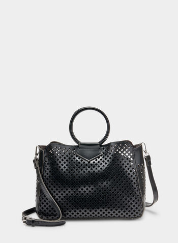 Ring Handle Handbag, Black, hi-res