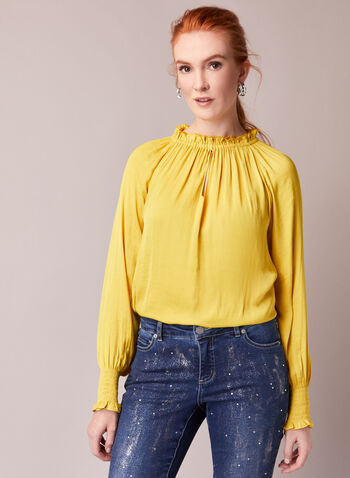 Keyhole Detail Smocked Blouse, Yellow,  fall winter 2020, blouse, keyhole detail, smocked, crewneck, long sleeve, balloon sleeve, elastic cuffs, flowy, stretchy, vibrant