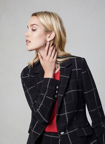 Veste quadrillée en tricot, Noir, hi-res,  veste, quadrillée, tricot, manches longues, col cranté, automne hiver 2019