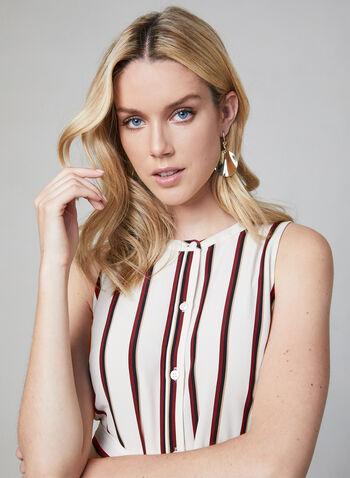 Vince Camuto - Stripe Print Sleeveless Dress, White, hi-res