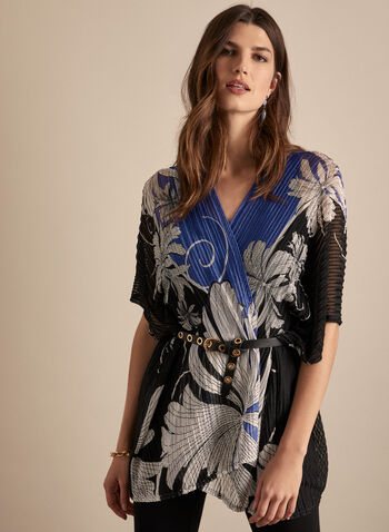 Frank Lyman - Kimono Style Open Front Top, Black,  top, open front, kimono, elbow sleeves, floral, stretchy, sheer, spring summer 2020