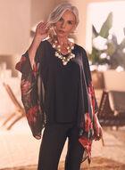 Joseph Ribkoff - Floral Print Kimono Blouse, Black