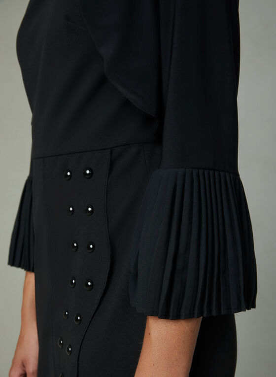 Pleated Jersey Bolero, Black, hi-res