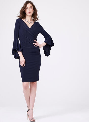 Frank Lyman - Drape Effect Sheath Dress , Blue, hi-res