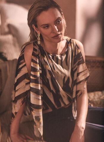 Blouse kimono à motif tigre abstrait , Noir,  haut, blouse, tigre, imprimé animal, mousseline, kimono, encolure bateau, printemps été 2021