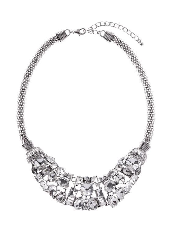 Stone Bib Necklace, Silver, hi-res