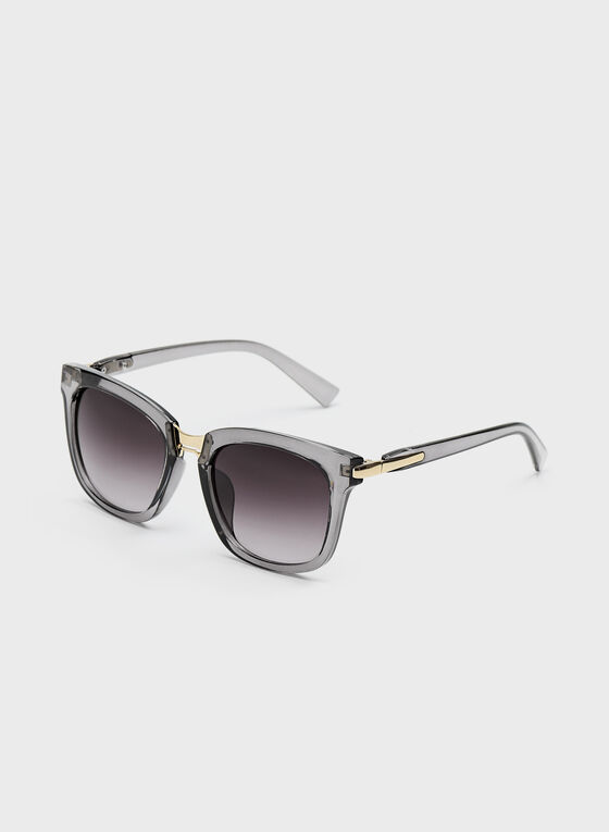 Square Translucent Browline Sunglasses, Grey, hi-res