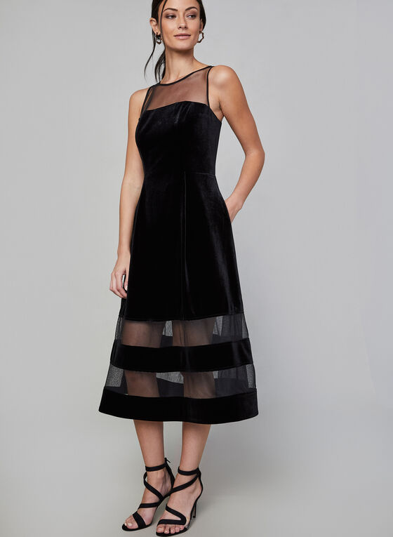 Aidan Mattox - Velvet & Mesh Dress, Black