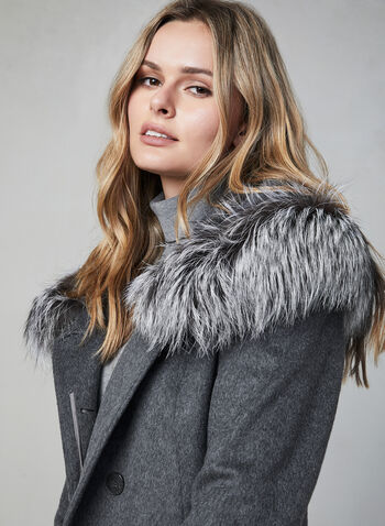 Mallia - Wool & Cashmere Coat, Grey,  fall winter 2019, cashmere, fox fur, wool