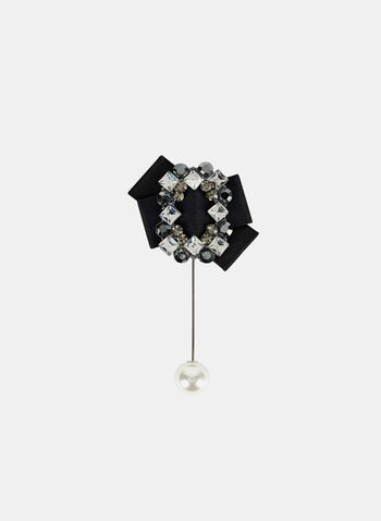 Ribbon & Crystal Brooch , Black, hi-res