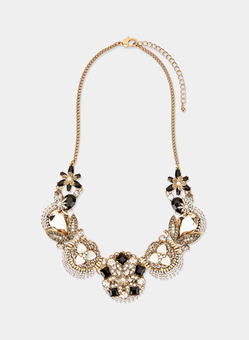 Floral Bib Necklace , Gold, hi-res