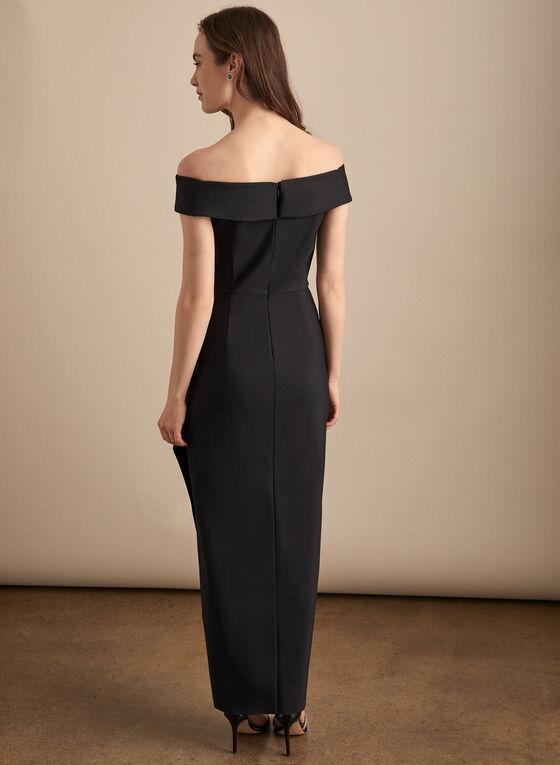 Alex Evenings - Robe à col Bardot et détail broche, Noir