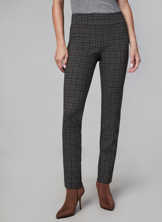 Pantalon coupe Madison à motif tartan, Gris, hi-res