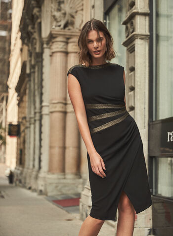 Joseph Ribkoff - Metallic Detail Dress, Black,  made in Canada, Joseph Ribkoff, Frank Lyman, dress, occasion dress, cap sleeves, shirring, metallic, fall winter 2021
