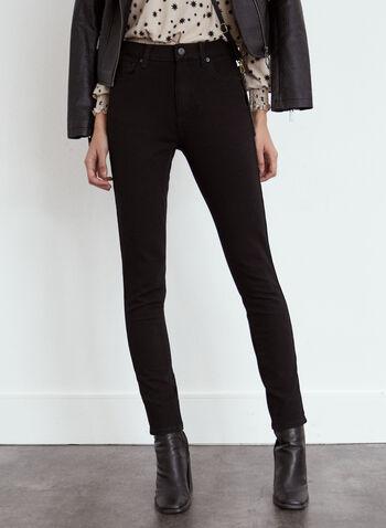 Yoga Jeans - Essential Slim Leg Denim, Black,  fall winter 2021, fall 2021, Yoga Jeans, the yoga jean, denim, pants, stretch denim, slim leg, stretch, 5 pockets, zip fly, button closure, belt loops, stitching, pockets, rivets, Rachel skinny, skinny jeans