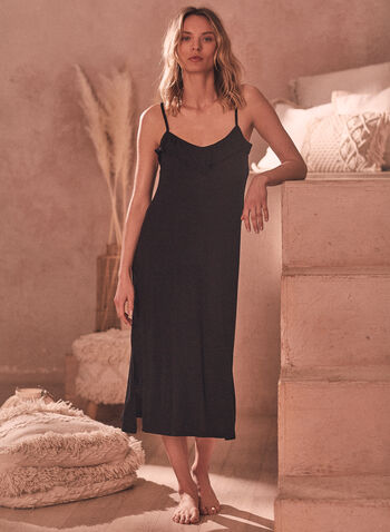 Ruffle Detail Nightgown, Black,  spring summer 2021, sleepwear, pj, pyjama, nightgown, nightshirt, spaghetti strap, ruffle, detail, side slit, comfort, stretch, soft