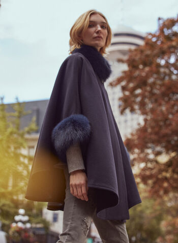 Mallia - Fur Detail Wool Cape, Blue,  fall 2021, mallia, coat, jacket, outerwear, made in canada, one size only, fox, wool, cashmere, fur, 3/4 sleeves, blue fur, blue dyed, cape