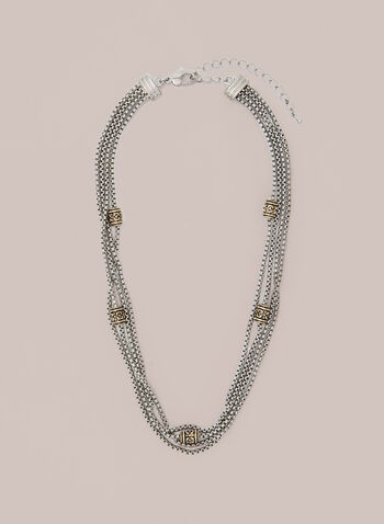 Multi-Chain Necklace, Yellow,  necklace, chain, short, fall winter 2020
