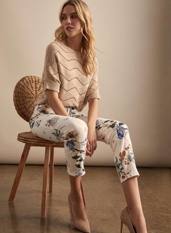 Jeans fleuri à jambe étroite, Blanc,  jeans, fleurs, jambe étroite, poches, denim, printemps été 2020