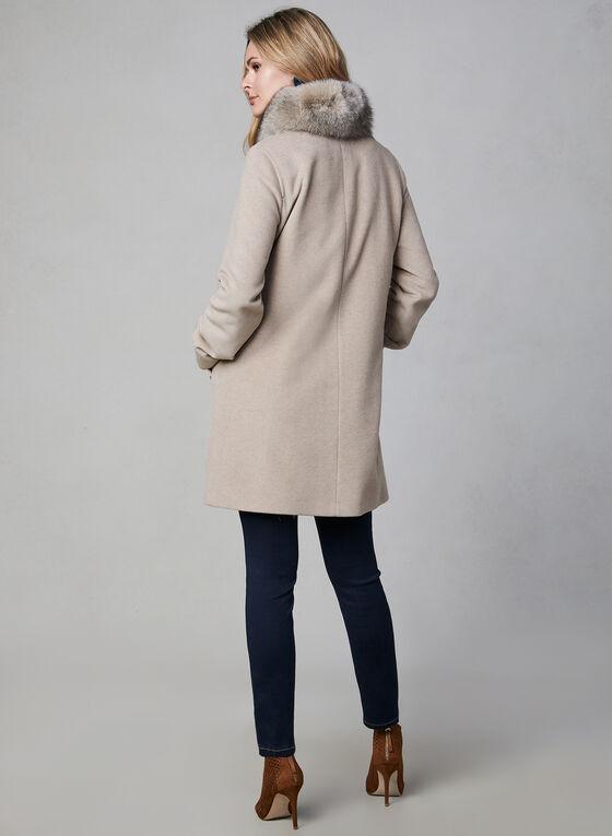 Mallia - Manteau droit en cachemire mélangé, Blanc cassé