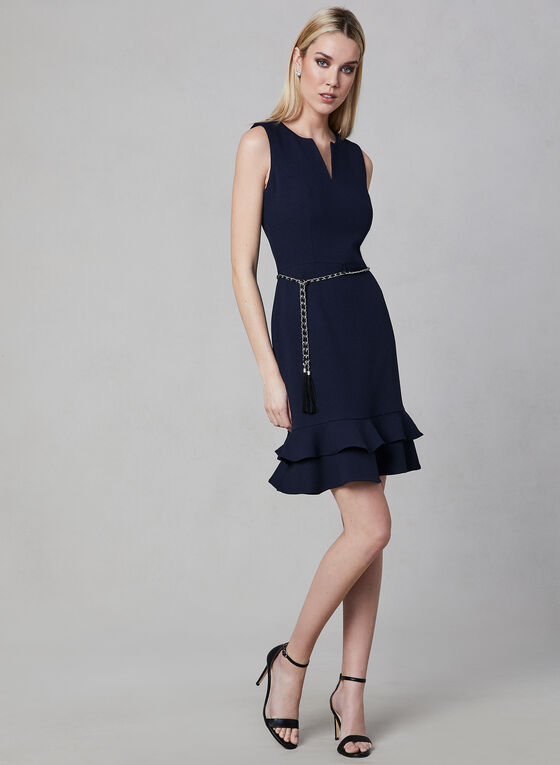 Karl Lagerfeld Paris - Belted Crepe Dress, Blue, hi-res