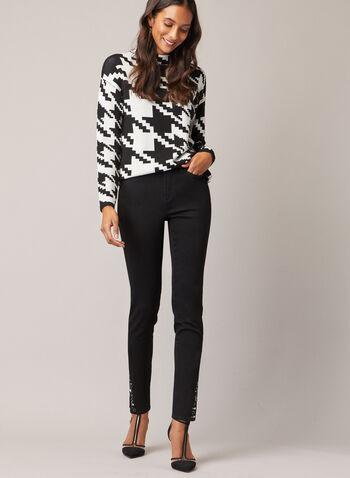 Jeans étroit à ourlet ornementé, Noir,  jeans, étroit, denim, pierres facettées, automne hiver 2020