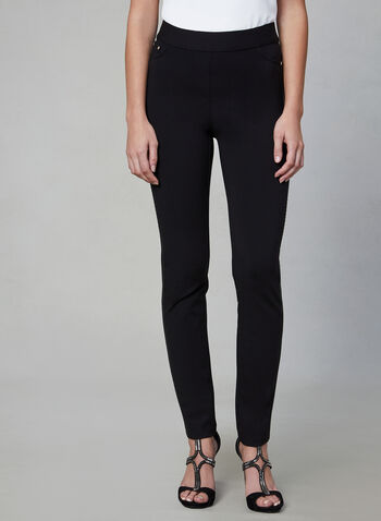 Madison Slim Leg Pants, Black, hi-res,  pants, Madison, slim fit, slim leg, high rise, pull on, Ponte de Roma, fall 2019, winter 2019