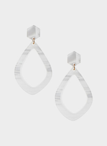Marbleized Acrylic Pendant Earrings, White, hi-res