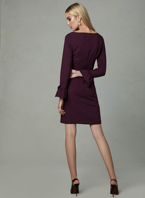 Karl Lagerfeld - Ruffle Sleeve Crepe Dress, Purple, hi-res